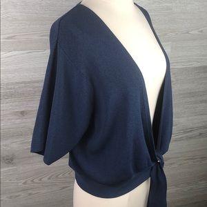 Cardigan Wrap Sweater Short Sleeve Blue